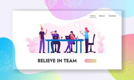 Brainstorm Website Landing Page. Creative People in Office Have Idea Working Together in Office. Successful Team in Coworking Space Developing Project Web Page Banner. Cartoon Flat Vector Illustration Stock Illustratie