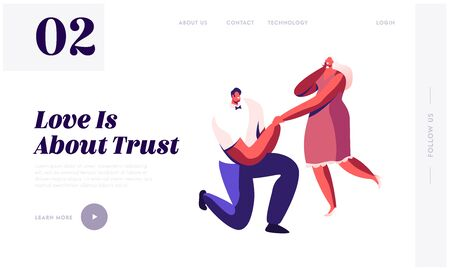 Loving Proposal Website Landing Page. Young Enamored Man Standing on Knee Holding Girl Hand Asking her Marry him. Love Romance Engagement Marriage Web Page Banner. Cartoon Flat Vector Illustration