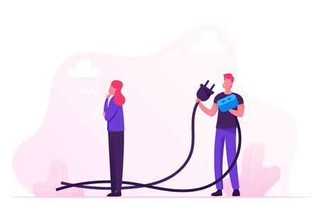 Businessman Holding Huge Wired Electrical Plug and Socket Ready to Establish Connection. Thoughtful Businesswoman Thinking. Creative Idea Research and Teamwork Concept Cartoon Flat Vector Illustration