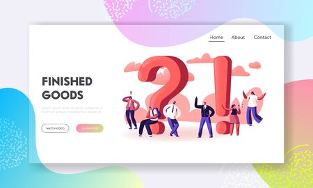People Searching and Giving Information Website Landing Page. Students Promoters Businesspeople Characters around Huge Exclamation and Question Marks Web Page Banner. Cartoon Flat Vector Illustration 스톡 콘텐츠 - 132679501