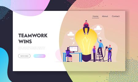 Teamwork, Searching Idea Website Landing Page. Business People Stand at Huge Turned Off Light Bulb Holding Plug. Woman Work on Pc, Project Development Web Page Banner. Cartoon Flat Vector Illustration