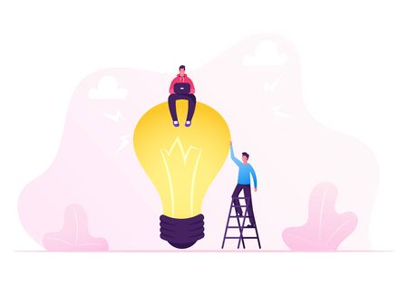 Business Team Work on Project Searching for Creative Idea. Man Sitting on Huge Light Bulb. Financial Management, Business Analysis, Planning, Brainstorming Research Cartoon Flat Vector Illustration Stock Illustratie