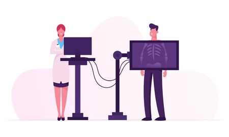 Diagnóstico médico por rayos X Chequeo esquelético óseo. Equipo de escáner corporal de radiología para enfermedades del paciente, investigación médica Ilustración de vector