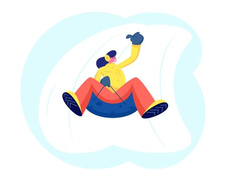 Young Woman Having Fun Sledding on Tubing Hill During Winter. Christmas and New Year Holidays. Wintertime Illustration