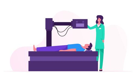 Patient Lying Down on Mri Scan Machine with Nurse Standing Next to Him. Magnetic Resonance Imaging Digital Technology