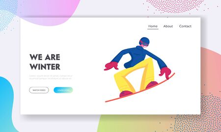 Winter Vacation Extreme Sports Activity Website Landing Page. Sportsman Snowboarding and Making Stunts on Mountain Ski  イラスト・ベクター素材