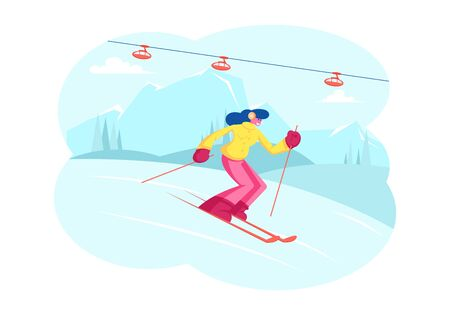 Winter Sports Activity and Spare Time. Young Woman Skiing in Mountains Resort with Funicular. Girl Riding Downhills