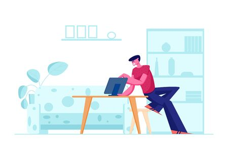 Computer Education, New Technologies. Young Man Sitting at Table with Laptop in Home Interior Illustration