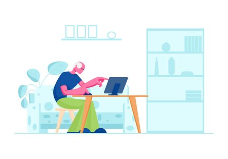 Senior Man Study to Use Computer in Home Interior. Aged Male Character Sitting at Desk with Laptop Pointing with Finger