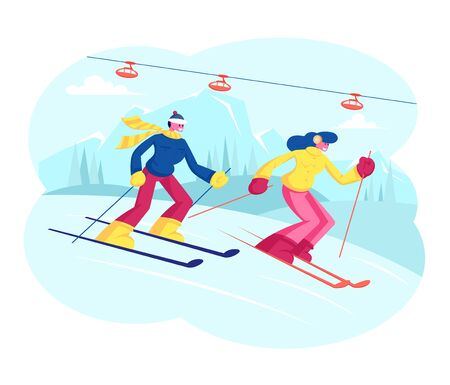 People Skiing. Man and Woman Skiers Cross Country at Winter Season. Sport Activity , Mountain Resort with Snow Ilustracja