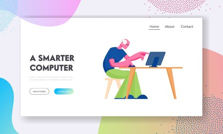 Senior Man Study to Use Computer Website Landing Page. Aged Male Character Sitting at Desk with Laptop