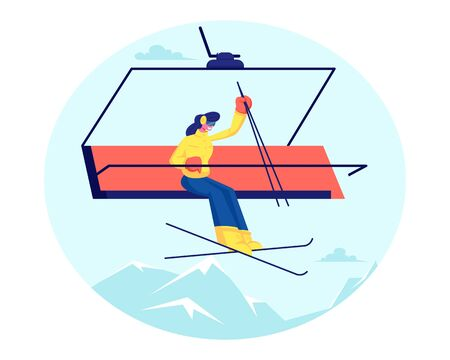 Pretty Woman Skier Go Up Hill on Rope Funicular with Skis and Poles Having Fun on Resort. Winter Vacations Activity