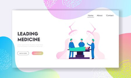 Emergency Medical Treatment Website Landing Page. Surgeon Making Operation to Patient in Hospital or Clinic  イラスト・ベクター素材