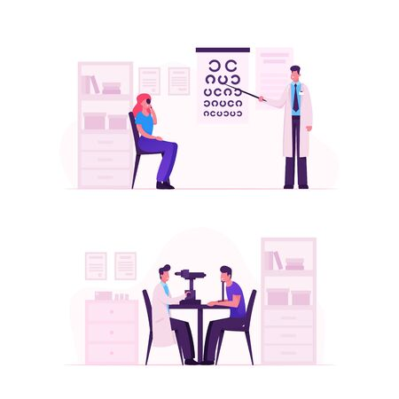 Ophthalmologist Doctor Check Eyesight for Eyeglasses Diopter. Male Oculist with Pointer Checkup Eye Sight Ilustração