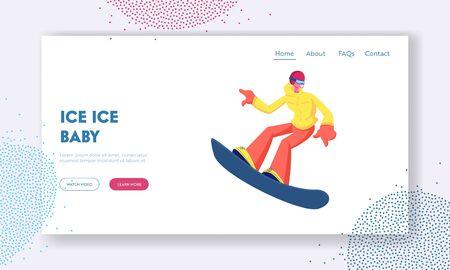 Sportswoman Snowboarder Having Fun on Ski Resort Website Landing Page. Happy Girl Riding Snowboard Downhill