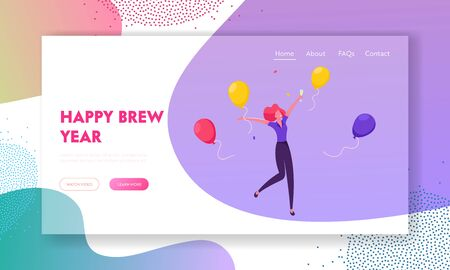 New Year Celebration Website Landing Page. Happy Drunk Woman Holding Champagne Glass Jumping and Dancing
