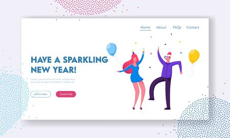 New Year Corporate Party Website Landing Page. Happy Drunk Couple in Festive Clothes and Funny Hats Dancing