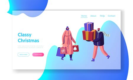 Christmas and New Year Sale and Shopping Website Landing Page. Preparation for Winter Holidays. Happy Characters