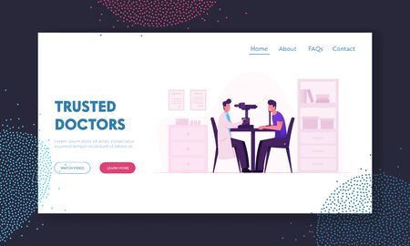 Oculist Checkup Eye Sight Website Landing Page. Ophthalmologist Doctor Check Eyesight for Eyeglasses Diopter