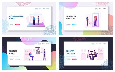 Professional Optician Exam and Distant Online Medicine Consultation. Website Landing Page Set. Oculist with Pointer