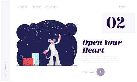 2020 New Year Party Website Landing Page. Funny Character Wearing Costume of Mouse Holding Champagne Glass Stock Vector - 132966082