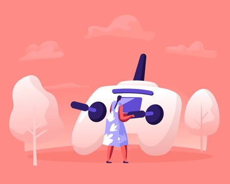 Young Woman Holding Telecontrol Pad in Hands for Navigating Flying Drone with Remote Control. Girl Having Fun in Countryside with Quadcopter Playing and Taking Pictures Cartoon Flat Vector Illustratio
