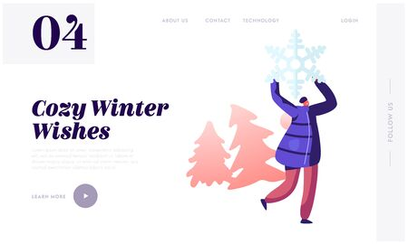 Winter Season Fun and Outdoor Leisure Website Landing Page. Happy Cheerful Woman Hold Huge Snowflake