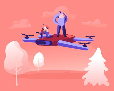 Tiny Male and Female Characters Flying by Huge Drone above Beautiful Summer Nature Landscape Background Observing Area around. Happy People Piloting Modern Quadcopter. Cartoon Flat Vector Illustration