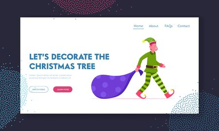 Fairy Tale Xmas Personage with Presents Website Landing Page. Christmas Elf Character Boy in Green Costume and Funny Hat