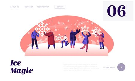People Enjoying Snowfall Website Landing Page. Happy Male and Female Characters Holding Huge Snowflakes in Hands Ilustrace