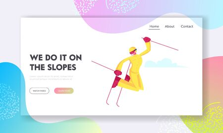 Winter Sports Activity and Sparetime Website Landing Page. Young Woman Freestyle Skiing in Mountains Riding Jumping