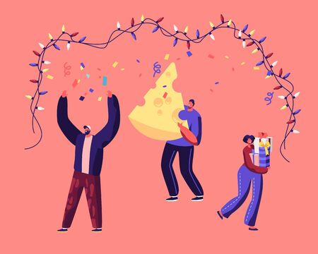 Happy People Holding Gift Box and Huge Piece of Cheese Dancing under Garland Celebrate 2020 New Year of Mouse Illustration