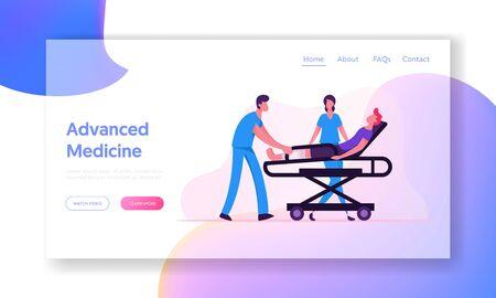 Advanced Medicine Website Landing Page. Ambulance Medical Staff Carrying Man Patient with Broken Leg to Hospital Векторная Иллюстрация