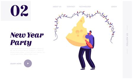 2020 Party Celebration Website Landing Page. Happy Man Holding Huge Piece of Cheese under Garland Celebrate New Year