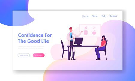 Nutrition Medical Appointment Website Landing Page. Male Doctor Nutritionist Character Giving Consultation to Woman Patient Making Healthy Diet Plan Web Page Banner. Cartoon Flat Vector Illustration