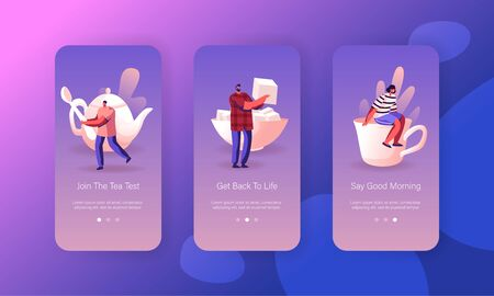Hot Drink Mobile App Page Onboard Screen Set. Male Female Characters Serving Table for Tea Party Waiting Friends Coming. Hospitality Concept for Website or Web Page, Cartoon Flat Vector Illustration