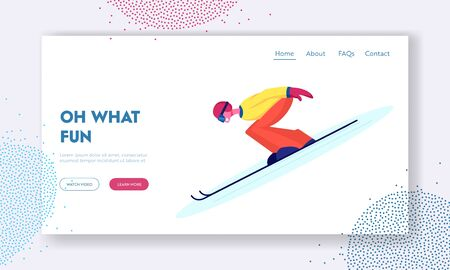 Winter Extreme Sport, Outdoors Leisure Spare Time Website Landing Page. Young Woman Wearing Warm Sportive Costume and Goggles Going Downhill by Skis Web Page Banner. Cartoon Flat Vector Illustration