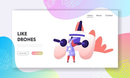 Quadcopter Technologies Website Landing Page. Rear View of Young Woman Watching and Navigating Flying Drone in Sky Over Countryside, Digital Device Web Page Banner. Cartoon Flat Vector Illustration  イラスト・ベクター素材