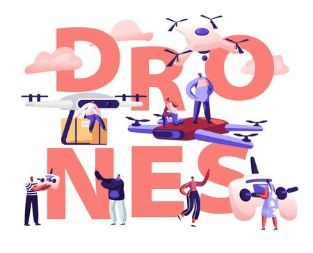 Drone Mail Service Concept. People Control Quadcopters, Parcel Shipping, Deliver Box to Consumer. Futuristic Technology Express Delivery Poster Banner Flyer Brochure. Cartoon Flat Vector Illustration