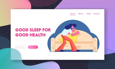 Good Night and Sleep Website Landing Page. Young Woman Cover Up Sofa with Warm Cozy Blanket for Sleeping Archivio Fotografico - 132966184