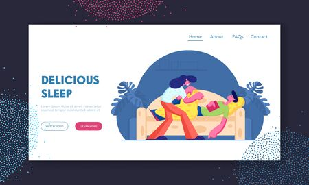 Leisure and Good Night Wishes Website Landing Page. Woman Covering with Blanket Man Sleeping with Book in Hands on Sofa Archivio Fotografico - 132966187