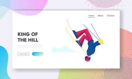Wintertime Activity and Extreme Outdoors Skiing Sport Website Landing Page. Character Making Freestyle Stunt Jumping Illustration