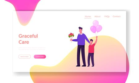 Happy Young Father with Flowers and Son with Balloons Stand Meeting Mother and Newborn Baby from Chamber of Maternity
