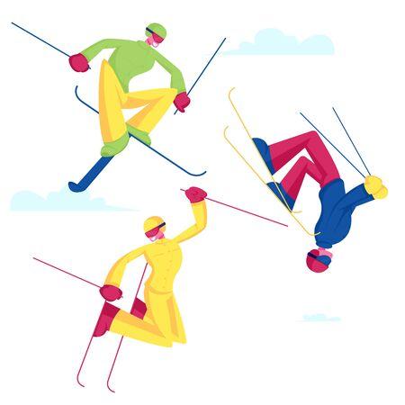 Sportsmen Freestyle Skiing Jump. Winter Sport Activity Combine Skiing and Acrobatics Stunts. Aerialist Skiers Ilustração