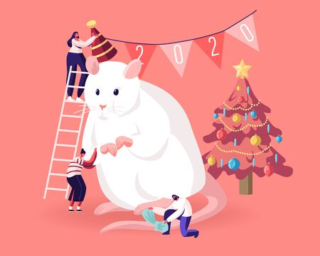 2020 New Year Holidays Event. Group of Happy People Prepare for Party Celebration Decorate Huge White Mouse Symbol