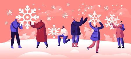 People Enjoying Snowfall. Winter Holidays Festive Season Concept. Happy Characters Holding Huge Snowflakes in Hands