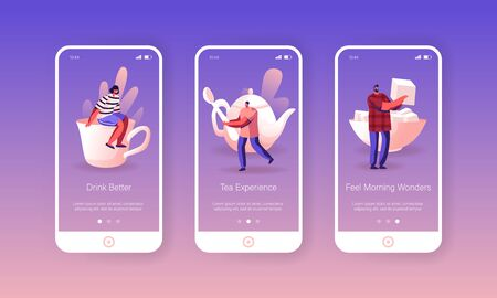 Tea Party Mobile App Page Onboard Screen Set. Tiny Men Women Characters Prepare to Drink Tea with Sugar. Hot Beverage Ilustração