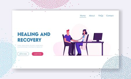 Healing and Recovery Website Landing Page. Doctor Using Sphygmomanometer with Stethoscope Checking Blood Pressure