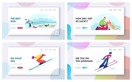 Dog Sledding and Ski Jumping Winter Sport Website Landing Page Set. Happy Character Riding Dogs Team, Jumping on Skis