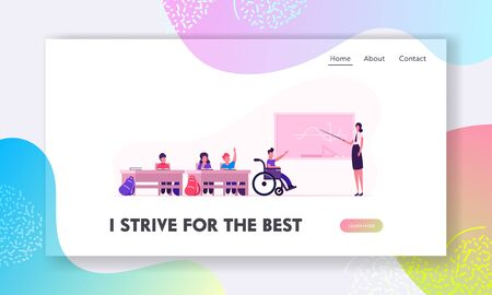 Back to School Website Landing Page. Children and Teacher in Classroom. Disabled Boy in Wheelchair at Blackboard Illustration